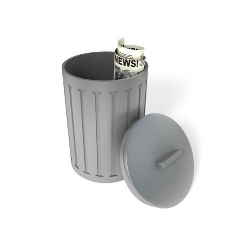 thrown: Metal trash bin or can with an newspaper