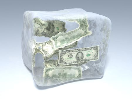 froze: 3d illustration of piece of ice with dollars