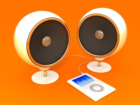 portable audio: 3d illustration of audio system and compact player