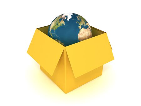 boxed: 3d illustrationof the earth in the box