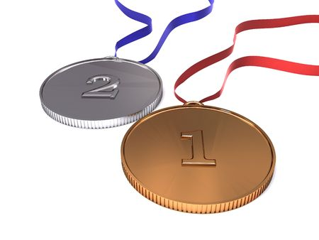 3d illustration of olympic medals close-up isolated illustration