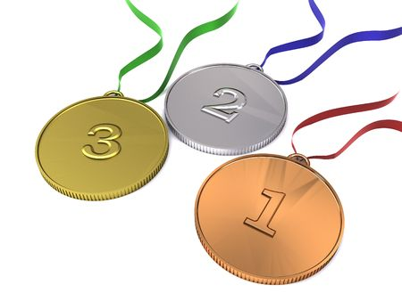 3d illustration of sports competition medals with ribbons