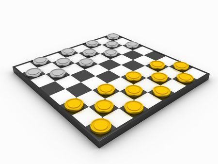 chequer: 3d illustrations of checkerboard isolated on white Stock Photo