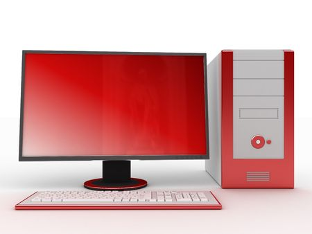 3d illustration of computer, front Stock Illustration - 3142081