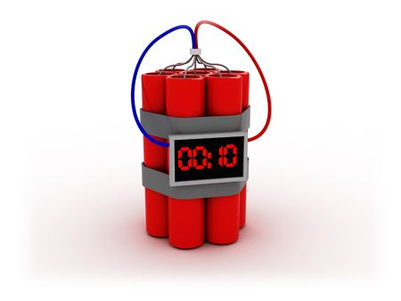 bombe: 3d illustration de bombe avec minuterie �lectronique