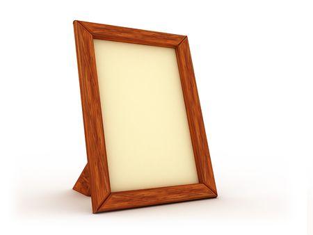 3d illustration of wooden frame for photo on white background Stock Illustration - 3833656