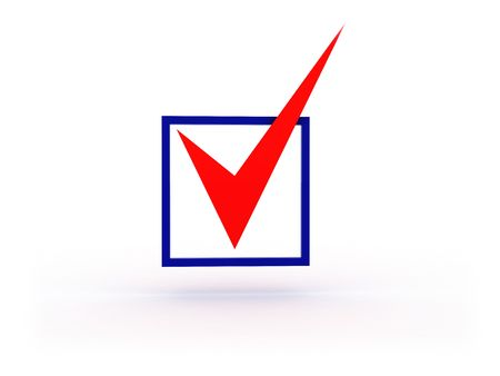 checkbox: 3d illustration of checkbox with red tick on white background