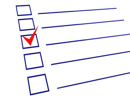 one item: 3d illustration of checklist with one item checked, on white background