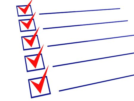 item list: 3d illustration of checklist with all items checked Stock Photo