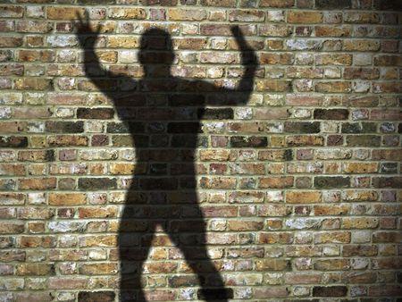 3d illustration d'ombra sul muro, maniaco, assassino con lama