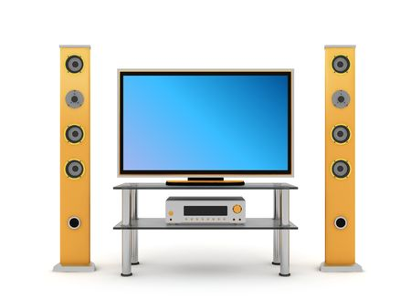 3d illustration of home theater front view on white background illustration