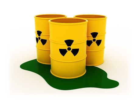 3d illustration of three radioactive barrels on white background illustration