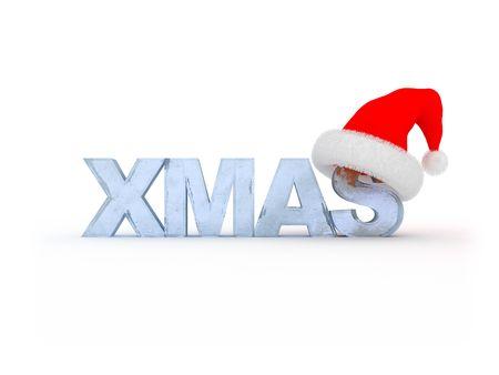 3d illustration of text xmas in red Santa`s hat illustration