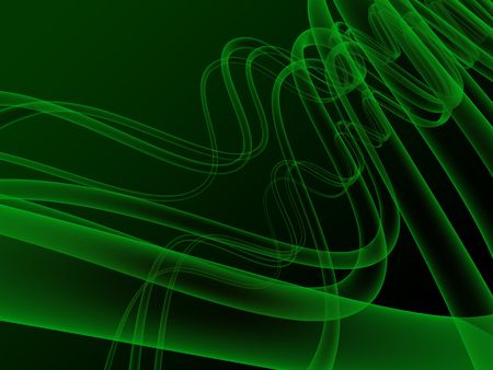 3d illustration of abstract waves, xray, on dark green background Stock Illustration - 3833669