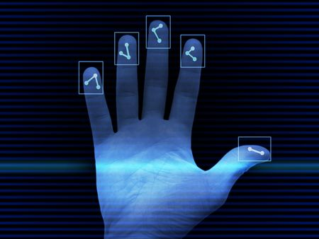 Abstract background with hand scaned for finger prints photo