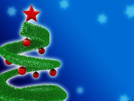 Abstract christmas background with christmas-tree on deep blue photo