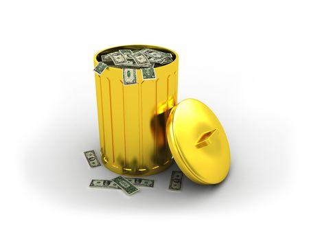 actividad econ�mica: Papelera con el dinero Foto de archivo