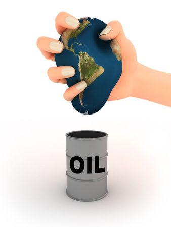 petrochemistry: Resumen ilustraci�n de la tierra en la mano y el barril de petr�leo