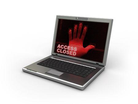 delincuencia: 3d ilustraci�n de ordenador port�til con software dactyloscopy sobre fondo blanco