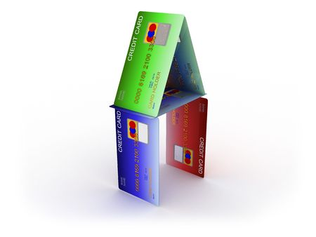 burdened: 3d illustration of house builded from credit cards Stock Photo