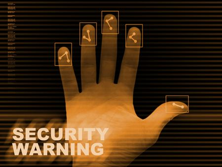 delinquency: Abstract dactyloscopy background, security warning Stock Photo