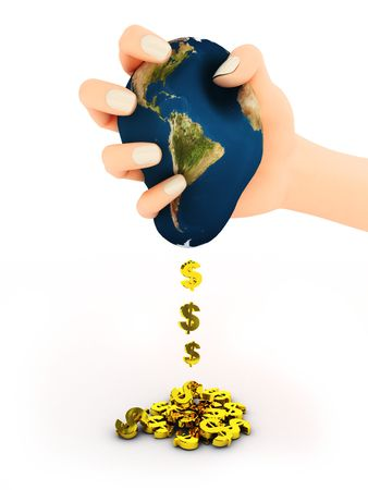 petrochemistry: 3d abstract illustration of hand with earth and dollar signs
