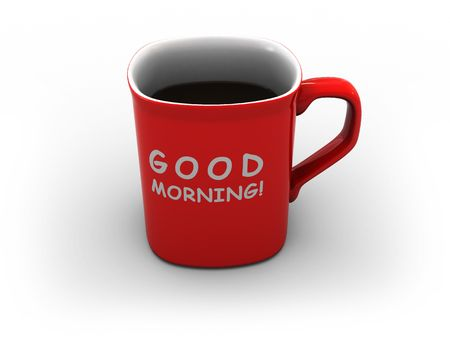 dring: 3d illustration of cofee cup on white background with text good morning Stock Photo