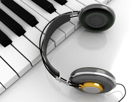 3d illustration of piano keys with headphones on it illustration