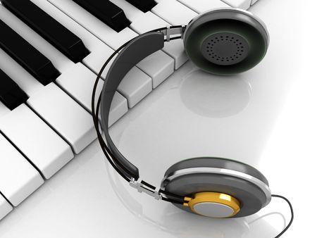 3d illustration of piano keys with headphones on it Stock Illustration - 3898920