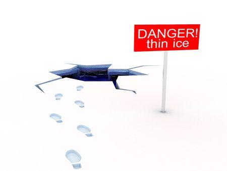 meltdown: 3d illustration of danger of thin ice, white