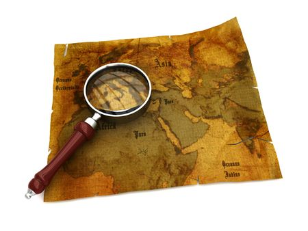 antiqued: 3d illustration of an ancient map with magnify glass Stock Photo