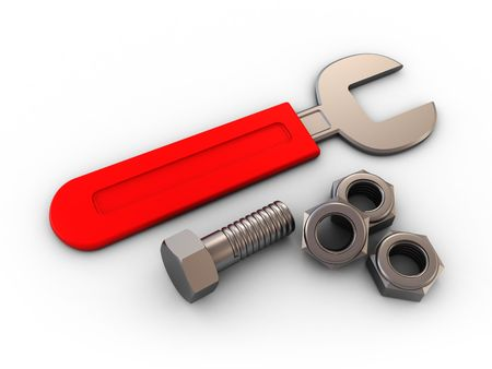handicrafts: 3d illustration of wrench and nuts over white background Stock Photo