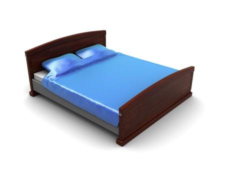 3d illustration of blue bed over white background illustration