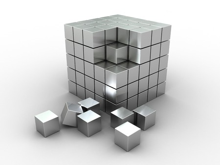 3d illustration of cube puzzle, construction, materila - stainless steel illustration