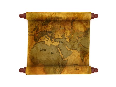 3d llustration of old map scroll isolated over white