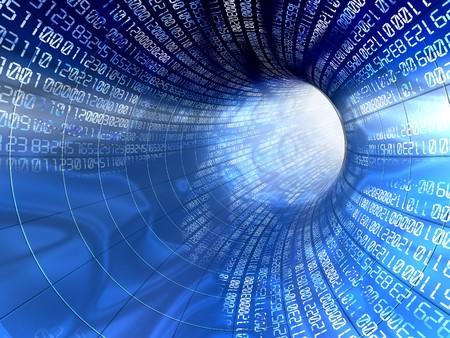 3d illustration og blue tunnel with numbers, internet concept
