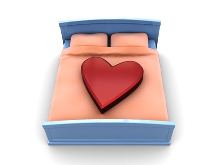 3d illustration of bed with stylized heart on it illustration