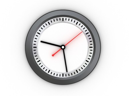 3d illustration of wall clock over white background, morning Stock Illustration - 4011261