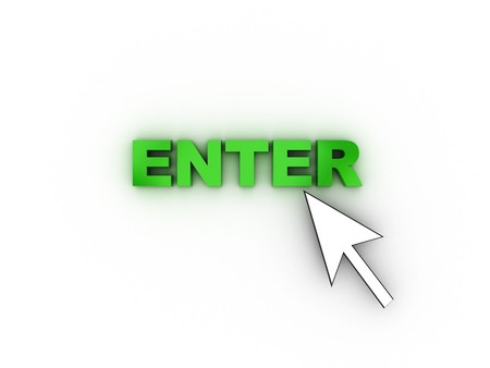 3d illustration of mouse cursor and text 'enter' over white background Stock Illustration - 4011253