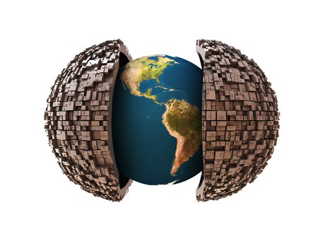 3d illustration of earth in industrial jacket Stock Illustration - 4011282