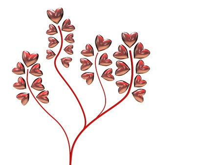rubin: 3d illustration of background with hearts tree over white