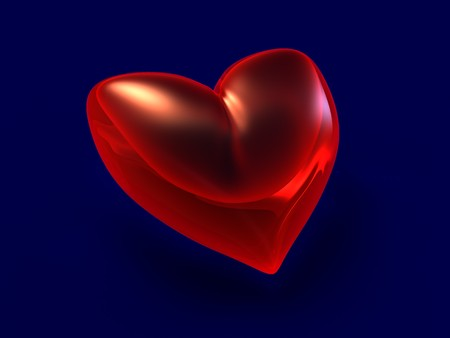 rubin: 3d illustration of red shining heart over dark blue background Stock Photo