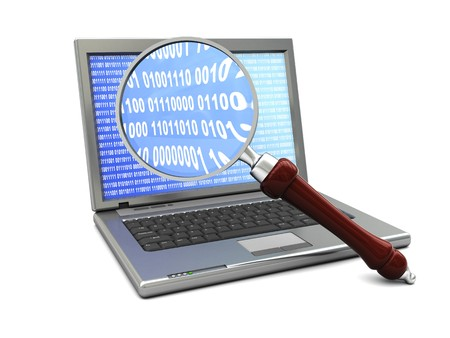 3d illustration of laptop and magnify glass over white background Stock Illustration - 4011278