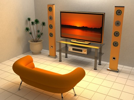 3d illustration of home theater interior, orange colors illustration