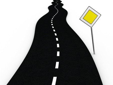 carriageway: 3d illustration of road with main-road sign over white background