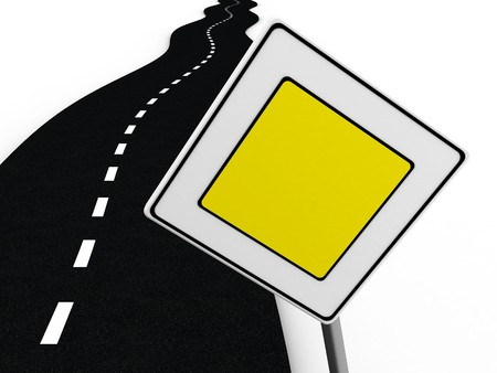3d illustration of road with 'main road' sign over white background Stock Illustration - 4011287