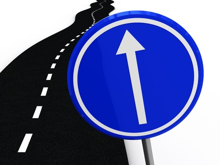 3d illustration of road with 'move forward' sign over white background Stock Illustration - 4011285