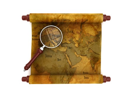 antiqued: 3d illustration of an ancient map scroll with magnify glass