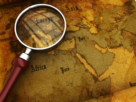 antiqued: 3d illustration of an ancient map with magnify glass closeup