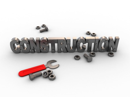 3d illustration of construction with wrench and nuts illustration